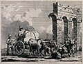 Two men are driving four buffalo to pull a cart carrying a l Wellcome V0041027.jpg