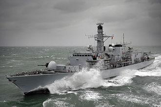 HMS Kent (F78) - Still with pre-refit main gun in 2010