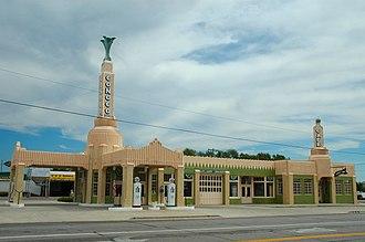 "Radiator Springs - ""Ramone's"" is based on the U-Drop Inn in Shamrock, Texas"