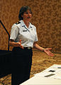 U.S. Air Force Maj. Lisa Hess, a sexual assault response coordinator, 452d Air Mobility Wing, March Air Reserve Base, gives a presentation on sexual harassment policies at the Hilton San Diego Bayfront in San 090801-F-YQ422-117.jpg