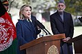 U.S. Secretary of State Hillary Rodham Clinton, left, and Afghan President Hamid Karzai, right, hold a press conference at the Presidential Palace in Kabul, Afghanistan 111020-S-PA947-880.jpg