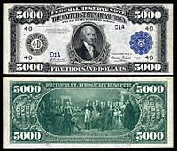 $5,000 Federal Reserve Note, Series 1918, Fr.1134d, depicting James Madison.