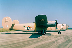 "B-24 Liberator units of the United States Army Air Forces - Consolidated B-24D-160-CO Liberator 42-72815 ""Strawberry Bitch"" on display at the National Museum of the United States Air Force. The B-24D on display flew combat missions from North Africa in 1943-1944, and was eventually sent to storage after the war to Davis-Monthan Field, Arizona.  In 1959 the aircraft was taken out of storage and flown to the museum for restoration and display. It was the last B-24 flight made by the USAF."