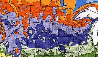Driftless Area - USDA climate map. The purple area is zone 4b, lavender 4a. The reddish-orange is zone 3b. Light green is 5a.(USDA, United States National Arboretum)