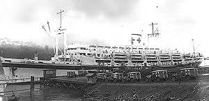 USS Comfort (AH-6) - Image: USS Comfort (AH 6) at Hollandia in 1945