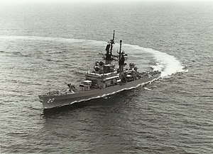 USS Richmond K. Turner (CG-20) underway at sea, circa in the mid-1980s