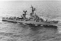 USS Turner Joy (DD-951) underway at sea on 9 May 1964 (NH 98257)