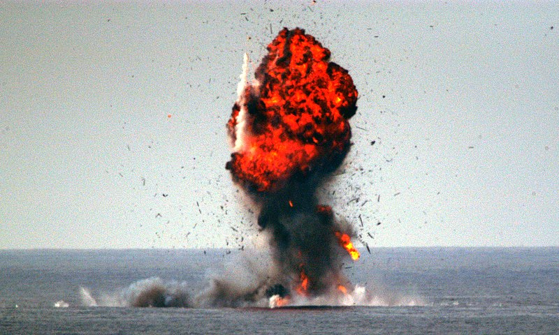 File:US Navy 040104-N-5070K-002 U.S. Navy and Marine Corps Explosive Ordnance Disposal (EOD) personnel destroy a captured dhow after a successful interception mission by ships from Expeditionary Strike Group One (ESG-1).jpg