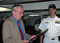 US Navy 060608-N-0335C-001 Medal of Honor recipient and Massachusetts Commissioner of Veteran's Affairs, Capt. (Ret.) Thomas Kelly, issues a proclamation officially defining Navy Week Boston 2006 to USS Constitution's Commandin.jpg