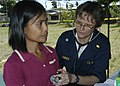 US Navy 070702-N-1752H-182 Cmdr. Cindy Tamminga performs a routine check up for a local patient during a medical civic affairs program (MEDCAP) held at Tabaco Elementary School.jpg