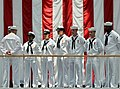 US Navy 090626-N-5328N-028 Center for Information Dominance (CID) Corry Station Sailors man the rails of the second deck at the National Museum of Naval Aviation at Naval Air Station Pensacola during a change of command ceremon.jpg