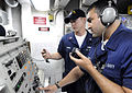 US Navy 090916-N-7280V-287 Fire Controlman Seaman Patrick Ramos and Fire Controlman 2nd Class Derek Hennen assigned to the amphibious command ship USS Blue Ridge (LCC 19) test-fire the Phalanx close-in weapons system or CIWS.jpg