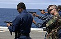 US Navy 100525-N-6477M-066 ailors conduct small arms weapons qualifications with the 9mm Baretta aboard the amphibious transport dock ship USS Cleveland (LPD 7) during marine expeditionary amphibious exercise Dawn Blitz.jpg