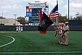 US Navy 110319-N-6778P-003 Navy ROTC Midshipmen from the University of Texas Austin present the colors during a pre-game ceremony as part of Austin.jpg