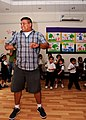 US Navy 110515-N-9327W-010 Electronics Technician 2nd Class Daniel Medina dances with children at the Regional Institute of Active Learning in Adli.jpg