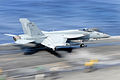 US Navy 111029-N-JO245-104 An F-A-18E Super Hornet from the Eagles of Strike Fighter Squadron (VFA) 115 launches from the aircraft carrier USS Geor.jpg
