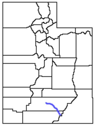 Escalante River - Location of the Escalante River within Utah