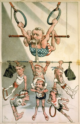 Cartoonist Joseph Keppler lampooned Grant and his associates. Puck, 1880 Ulysses S. Grant Trapeze Cartoon Keppler Puck 1880.tif