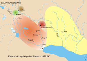 Umma - Sumerian king Lugal-Zage-Si of Umma's domains (red), c. 2350 BC