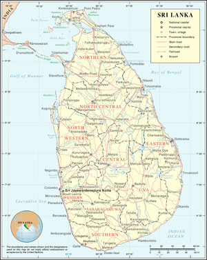 Outline of Sri Lanka - An enlargeable map of the Democratic Socialist Republic of Sri Lanka