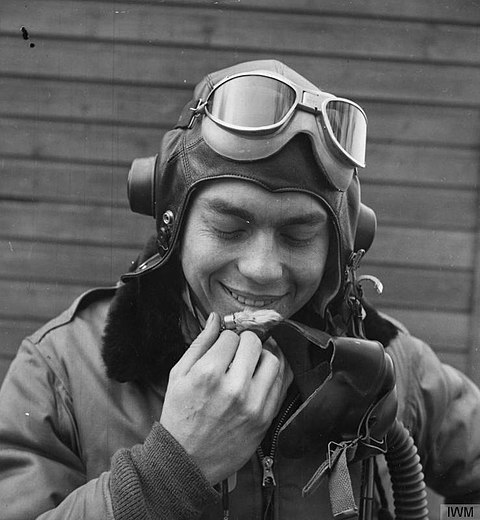"WWII USAF pilot D. R. Emerson ""flys with a rabbit's foot talisman, a gift from a New York girl friend"" United States Eighth Air Force in Britain, 1942-1945 FRE39.jpg"