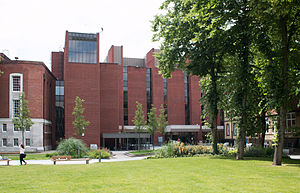 University of Manchester Library - Main Library, The University of Manchester Library, looking towards the entrance from Burlington Street.