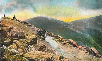 Mount Washington Auto Road - Fred Marriott in a Stanley Steamer during the 1905 Climb to the Clouds