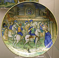 Urbino, piatto con traiano che ferma il suo esercito fuori roma per ascoltare una richiesta, stemma isabella d'este.JPG