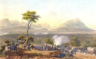 Battle of Monterrey - US troops marching on Monterrey during the Mexican–American War, lithograph by Carl Nebel