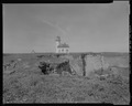 VIEW FROM EAST END OF ISLAND, SHOWING LIGHTHOUSE, LOOKING WEST - Cape Arago Lighthouse, Gregory Point, Charleston, Coos County, OR HABS OR-189-3.tif