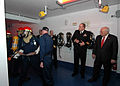 Vice President Dick Cheney observes U.S. Navy recruits fighting a simulated controlled fire on the Navy's newest training simulator USS Trayer (BST 21) on Naval Station Great Lakes, Ill., March 7, 2008 080307-N-IK959-123.jpg