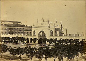 Teatro Colón - 1864 view of the original Teatro Colón (at left) and the old Plaza de Mayo colonnade, both long since demolished.
