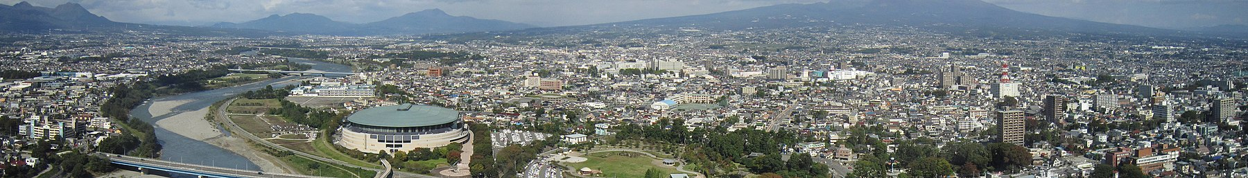 View from Gunma Prefectural Government Building north in Maebashi Gunma prefecture Wikivoyage banner.jpg