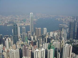 Central, Hong Kong - View of Central and Victoria Harbour from Victoria Peak. Tsim Sha Tsui is visible across the harbour.