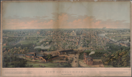 View of the city from Capital University in 1854 View of Columbus O. From Capitol University.png