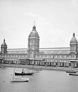 Toronto Union Station (1873) - Union Station as viewed from the waterfront in 1888.