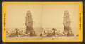 """View of the wreck of the """"Minmanuett,"""" showing spectators sitting on bags of coffee (its cargo) on the shore, by Freeman, J. (Josiah).png"""