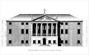 Villa Piovene - Main facade (drawing by Ottavio Bertotti Scamozzi, 1778)