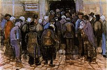 A group of poor looking people huddled at a door seen from the back. To the left of a door a sign can just be made out saying 'Staatsloterij'
