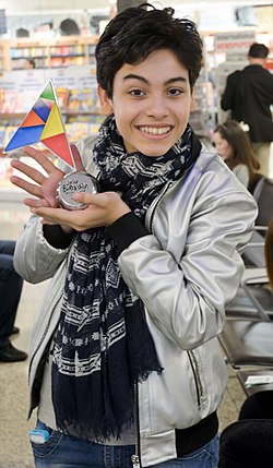 Vincenzo Cantiello (JESC 2014 winner) with his prize.jpg