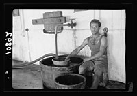 Vintage activities at Richon-le-Zion, Aug. 1939. Red grape juice flowing into strainer from where it is pumped. Drawing off the new red wine from the fermentation vat into large container LOC matpc.19790.jpg