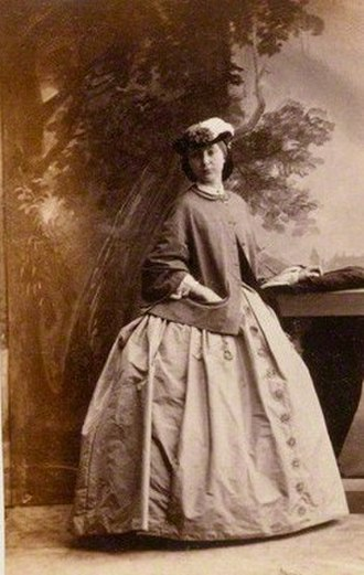 Albumen print - Camille Silvy's albumen print of Viscountess Amberley, original size 3 3/8 in. × 2 1/8 in. (85 mm × 55 mm)