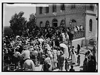 Visiting Jewish colonies. Sir Herbert Samuel leaving the synagogue (Richon le Zion). LOC matpc.02296.jpg