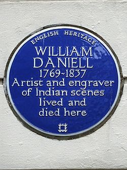 William daniell 1769 1837 artist and engraver of indian scenes lived and died here