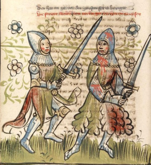 Haddingjar - An illustration of Hartung (right), fighting Walther of Kerlingen in the Rosengarten zu Worms chivalric epic (CPG 359 (1418), fol. 40v).