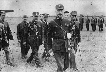 Wang Jingwei and officers of the Collaborationist Chinese Army Wang Jingwei and officers of the Reorganized National Government of Chinese army.jpg
