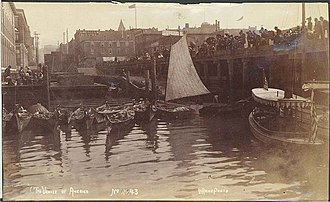 Duwamish people -  Seattle waterfront with moored Indian canoes, c. 1892