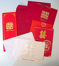 Mix of wedding invitations