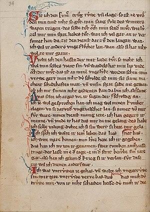 Weingarten Manuscript - Lyrics by Hartmann von Aue in the Weingarten Manuscript (c.1310), fol 20v.