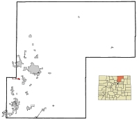 Weld County Colorado Incorporated and Unincorporated areas Johnstown Highlighted.svg